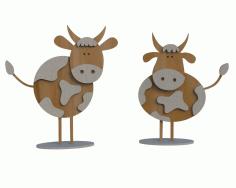 Laser Cut Wooden Bull Figurine Kids Toy 4mm Free CDR Vectors Art