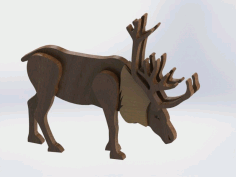Laser Cut Wooden Reindeer Free CDR Vectors Art