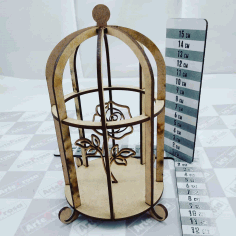 Laser Cut Bird Cage Decoration Cage With Flower Free CDR Vectors Art