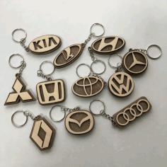 Laser Cut Car Logo Keychains Wooden Car Key Rings Free CDR Vectors Art