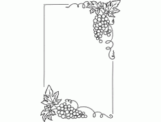 Laser Cut Grape Patterned Photo Frame Free DXF File