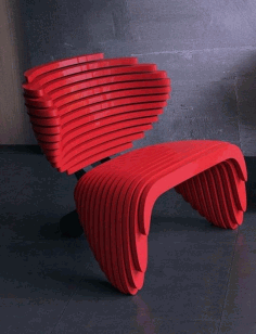Laser Cut Parametric Red Chair Design Free DXF File