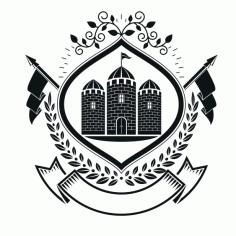 Castle Emblem Badge Free CDR Vectors Art