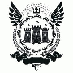 Castle Emblem Design Badge Free CDR Vectors Art