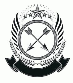 Cross Arrow Emblem Design Badge Free CDR Vectors Art