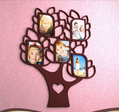 Laser Cut Patterned Photo Frame Tree Design Free CDR Vectors Art