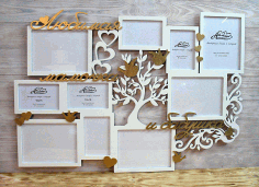 Laser Cut Patterned Photo Frame Tree Free CDR Vectors Art