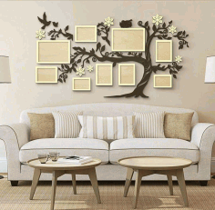 Laser Cut Patterned Wall Photo Frame Free CDR Vectors Art