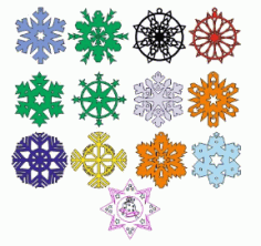 Laser Cut Snowflakes Layout Free CDR Vectors Art