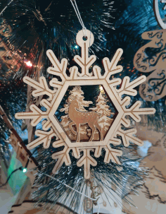 Wooden Deer Snowflakes Toys Free CDR Vectors Art