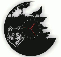 Wall Watch Wolf Free DXF File