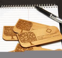Laser Engraved Wood Business Cards Free CDR Vectors Art
