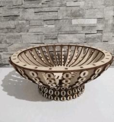 Laser Cut Wooden Candy Bowl Basket Wooden Flower Basket Free CDR Vectors Art