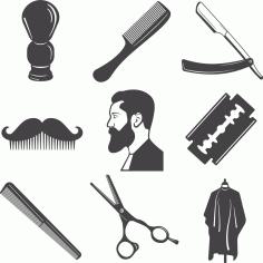 Laser Cut Barber Elements Set Free CDR Vectors Art