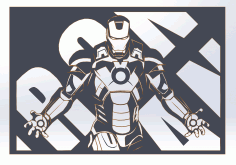 Wall Art Industrial Laser Iron Man Decoratve Panel Free CDR Vectors Art
