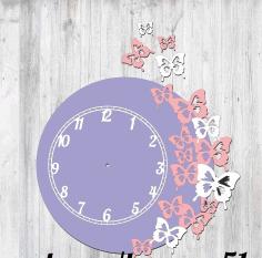 Butterfly Clock Design Laser Cut Free CDR Vectors Art