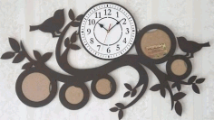Clock With Family Photo Frames Free CDR Vectors Art