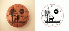 Deer Tree Moon Clock Free CDR Vectors Art