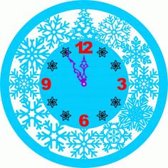 Snowflake Clock Free CDR Vectors Art
