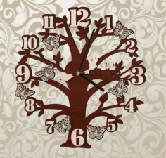 Tree Wall Clock With Birds And Butterflies Free CDR Vectors Art