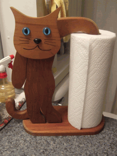 Laser Cut Cat Shape Paper Towel Holder Kitchen Tissue Holder Household Roll Paper Stand Free PDF File