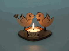 Laser Cut Wooden Tea Light Candle Holder Free PDF File