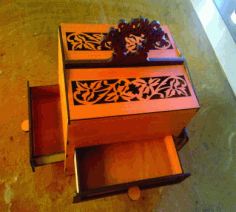 Laser Cut Fancy Box With Drawers Free PDF File