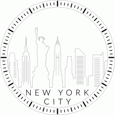 New York City Skyline Clock Laser Cut Template Free PDF File