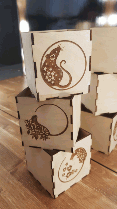 Wooden Mouse Engraved Boxes Free CDR Vectors Art