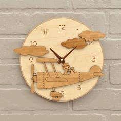 Wooden Airplane Clock Kids Room Wall Clock Decor Free CDR Vectors Art