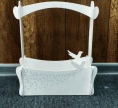 Flower Basket With Bird Candy Basket Home decoration. Free CDR Vectors Art