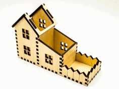 House Shape Desk Organizer Laser Cut Free PDF File