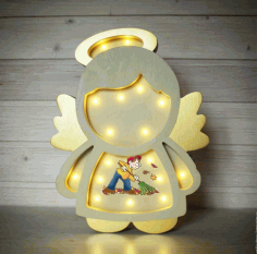 Laser Cut Angel Kids Room Night Light Lamp 5mm Free CDR Vectors Art