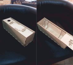 Wine Bottle Box With Sliding Lid Gift Box Free DXF File