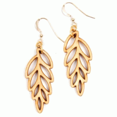Laser Cut Earring Jewelry Leaf Design Free DXF File