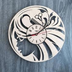 Hair Salon Ladies Wall Clock Free CDR Vectors Art