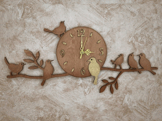 Laser Cut Birds On Branch Wall Clock Free CDR Vectors Art