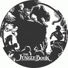 Laser Cut Jungle Book Wall Clock Kids Room Decor Free CDR Vectors Art