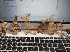 Deer Tree Ornaments Free CDR Vectors Art
