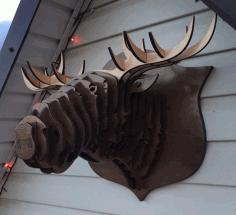 Elk Head Wall Decoration Deer Head On Wall 6mm Free CDR Vectors Art
