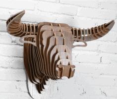Laser Cut Bull Head Wall Decor 3d Animal Head Free CDR Vectors Art