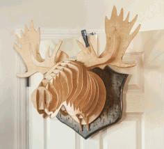 Laser Cut Elk Wall Head Decor Deer Head On Wall Free CDR Vectors Art