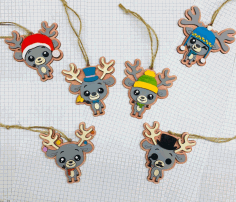 Deer Keychain New Year Decorations Christmas Decor Pendants Free CDR Vectors Art