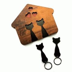 Laser Cut Cat Key Layout Free CDR Vectors Art