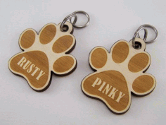 Laser Cut Engraved Dog Paw Keychain Free CDR Vectors Art