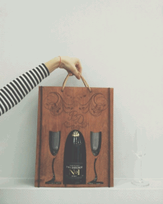 Laser Cut Bottle Carrier Gift Holder Free CDR Vectors Art