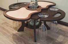 Laser Cut Wine Table Holder Wine Caddy Single Bottle 4 Glasses Free CDR Vectors Art