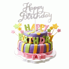 Laser Cut Happy Birthday Cake Topper Party Decoration Free CDR Vectors Art