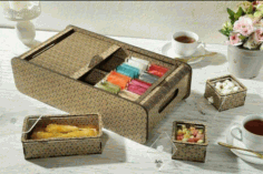 Laser Cut Tea Bag Box Free CDR Vectors Art