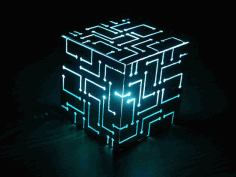 Alien Cube Big Lamp Laser Cut Free PDF File